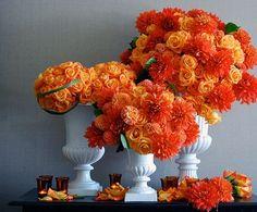 orange reception wedding flowers,  wedding decor, orange wedding flower centerpiece, orange wedding flower arrangement, add pic source on comment and we will update it. www.myfloweraffair.com