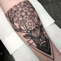 Geometric stag tattoo by Josh Foulds