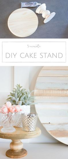 How to make your own rustic DIY wood cake stand in just 5 minutes. | http://www.makingitinthemountains.com