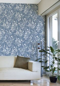 Wildflower Wallpaper in Cascade Tour Blue by Milton & King Accent Wallpaper, Dining Room Wallpaper, Bold Wallpaper, Botanical Wallpaper, Modern Wallpaper, Blue Wallpapers, Blue Wallpaper Bedroom, Chinoiserie Wallpaper, Designer Wallpaper