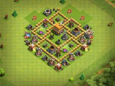 My base layout in Clash of Clans with a Level 5 Town Hall