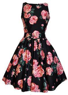 Black & Pink Rose Tea Dress