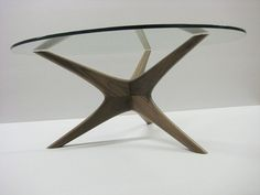 Made to order Mid century inspired hand sculpted Walnut coffee table