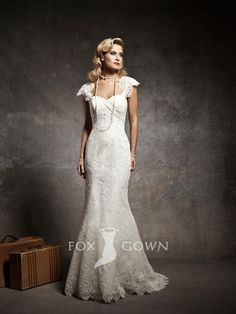 mermaid wedding dresses | ... Cap Sleeves Sweetheart Mermaid Wedding Dress 2013 with Sweep Train