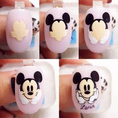 80 ideas to create the best Halloween nail decoration - My Nails Mickey Mouse Nail Art, Mickey Mouse Nails, Cute Nails, Pretty Nails, My Nails, Nail Art Dessin, Cartoon Nail Designs, Spring Nail Trends, Nails For Kids