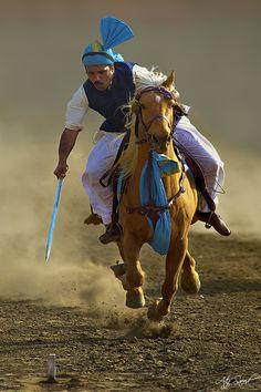 Galloping on a beautiful horse (Pakistan); by  Atif Saeed
