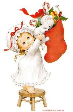 Christmas child and stocking - art by Ruth Morehead, via silvitablanco