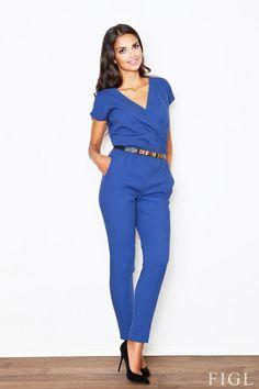Elegant blue jumpsuit with decorative belt