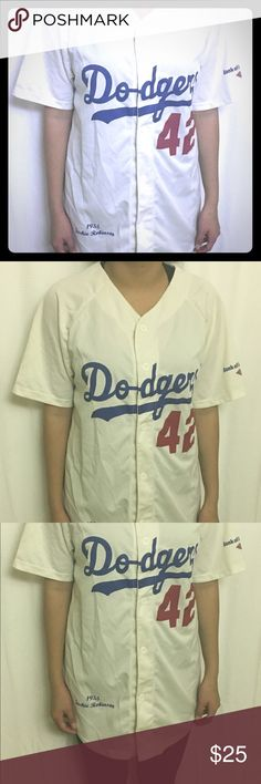 Dodgers Jackie Robinson 42 Shirt This Dodgers Jackie Robinson 42 T-shirt is in excellent to new condition. Dodgers Tops Button Down Shirts