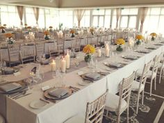 Long tables of Fitting for a castle wedding! Yellow Orchid, Elegant Chic, Wedding Table, Tablescapes, Dream Wedding, Table Settings, Wedding Inspiration, Castle Weddings