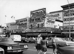 """April 1976: Nathan's Famous restaurant in Coney Island."" (Getty"