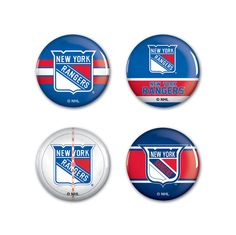 New York Rangers Buttons 4-Pack - Enthoozies