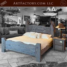 Fine Art Western Bedroom Set: Solid Wood By One Master Carver's Hands - the finest quality furnishings available anywhere at any price Handmade Bedroom Furniture, Solid Wood Bedroom Furniture, Luxury Bedroom Furniture, Latest Bed, Wood Bed Design, Wood Beds, Bed Styling, Luxurious Bedrooms, Quality Furniture