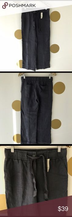 *NWT* LOFT Charcoal Wide Leg Linen Pants Brand new with tags! These lightweight linen pants in dark charcoal feature an elastic waistband and wide pant legs for ultimate comfort. Size XXS petite. LOFT Pants Wide Leg