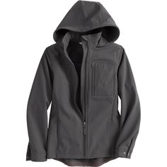 Women's Shoreline Shield Hooded Jacket handles rain-slashed, wind-lashed situations and sheds messy debris. From Duluth Trading Company.