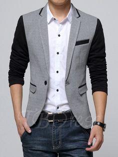 One Button Masculine Cotton Slim Fit Men's Fashion Brand Blazer - m.tbdress.com