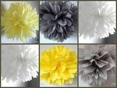 5 Tissue poms - Yellow and Gray Wedding Decor - Birthday Decor- Elephant Decor