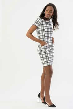 03ef2c95880 Suzy Shier Plaid Sheath Dress with Pockets Suzy