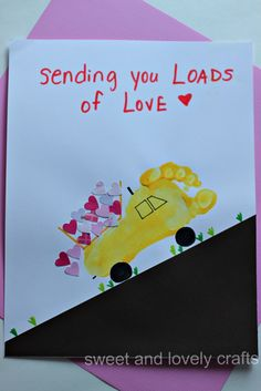 Footprint footprint dump truck carrying a load of love.Valentine Footprint footprint dump truck carrying a load of love. Valentine Crafts For Kids, Fathers Day Crafts, Baby Crafts, Crafts To Do, Stick Crafts, Valentines Art, Valentine Cards, Daycare Crafts, Preschool Crafts