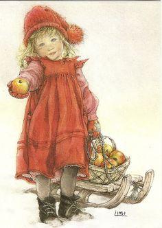 "Carl Larsson,""En liten äppelflicka"", ( Little Apple Girl) Vintage Christmas Cards, Christmas Pictures, Christmas Art, Vintage Cards, Vintage Postcards, Xmas, Christmas 2019, Christmas Presents, Carl Larsson"