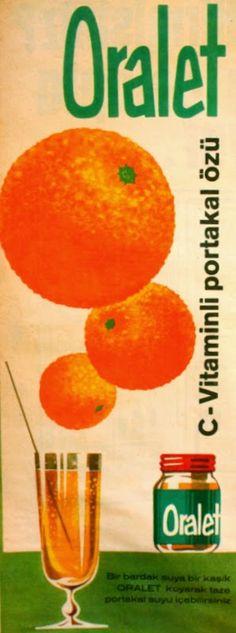 OĞUZ TOPOĞLU : oralet c vitaminli portakal özü 1966 nostaljik esk... Old Ads, Print Ads, Vintage Advertisements, Vintage Art, Childhood Memories, Pop Art, Advertising, Retro, Balcony