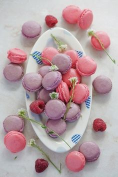 Pink and purple macarons.