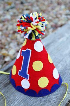 Boys 1st Birthday Party Hat Boys Circus Theme by LaLaLolaShop