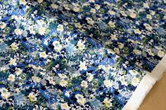 Japanese Fabric Garden - cotton lawn - blue, green - 50cm