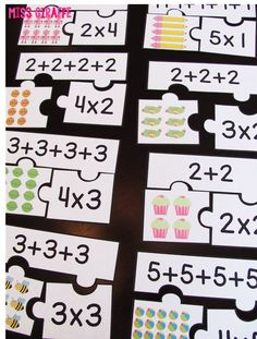 Repeated addition games students can play during math centers like these fun arrays puzzles that make introducing multiplication and equal groups exciting for kids Math For Kids, Fun Math, Math Games, Math Activities, Fraction Activities, Math Math, Word Games, Teaching Multiplication, Teaching Math