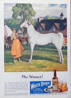 White Horse Scotch Whiskey  40 s Print ad  Color Illustration 1947 The New Yorker Magazine Art