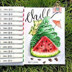 Watermelon, fruits, berries, juicy, frozen yogurt, ice cream, mint, star fruit, delicious, tasty, sweet, summer. Chill Мятное, холодное мороженое - все, что мне сейчас нужноНо пока плавлюсь под раскалённым солнцем и рисую четвёртое задание - крем…