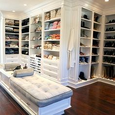 Gray Walk In Closet with Open Shelving - Transitional - Closet