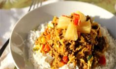 This curried mince recipe is full of vegetables and has the added surprise of pineapple. The sweet and sour flavours are carried well by the beef and even the fussiest eaters will love this. Make a double batch and freeze some for later. Easy Mince Recipes, Minced Beef Recipes, Fast Dinner Recipes, Curry Recipes, Healthy Recipes, Savoury Recipes, Quick Recipes, Healthy Food, Curry Mince Recipe