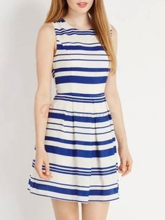 O-Neck Sleeveless Stripped Casual Dress Women's Mini Dress on buytrends.com