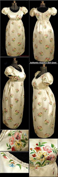 16 size RARE in gown Ball English style  Regency Silk EMBROIDERED 1790-1810 Authentic -- from an auction website -- seems to be a remodeled gown to me.