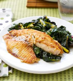 Gingered Tilapia & Swiss Chard    Ingredients        4 tilapia fillets, about 6 ounces each      1 1/2 tablespoons grated fresh ginger      1/2 teaspoon each salt and black pepper      1 1/2 tablespoons olive oil      1 small onion, chopped      2 bunches Swiss chard, stems removed and leaves roughly chopped (about 6 cups)      1/4 cup low-sodium chicken broth      1/4 cup white wine