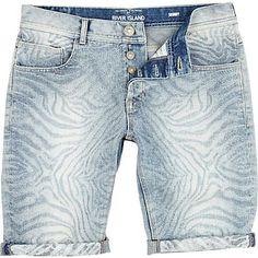 Brown aztec print turn up denim shorts - chino shorts - shorts ...