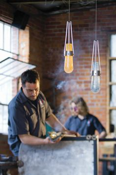 Hubbardton Forge collaborates with AO Glass Works of Burlington,VT on a selection of new glass for our Erlenmeyer and Link collections.