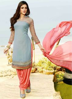 Beguiling Georgette Grey and Salmon Trendy Salwar Suit