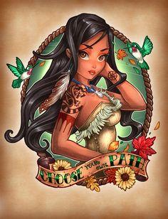 Ilustraciones de las princesas de Disney estilo Suicide Girls