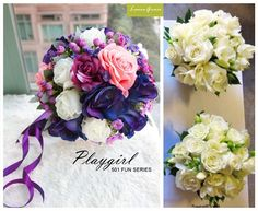 I love the this bride's bouquet with shades of purple. With blue roses, pink roses, purple roses, white roses, purple florets, and in purple ribbons, white bouquets (for bridesmaids) with roses and fressia.