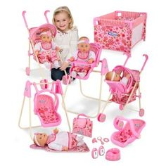 Includes stroller, swing, high chair, and travel bag. Graco 11 Piece Jessa Baby Doll Playset at DollFurniture.com for $50.