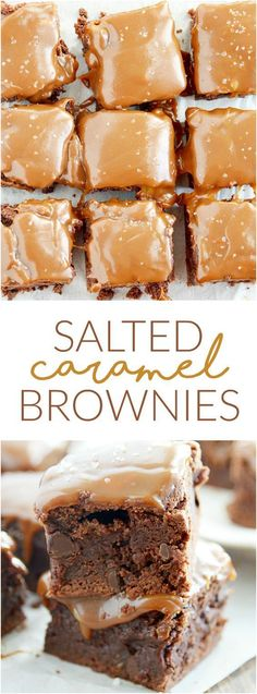 Salted Caramel Brownies - Fudgy brownies studded with chocolate chips and topped with caramel and a sprinkling of sea salt.