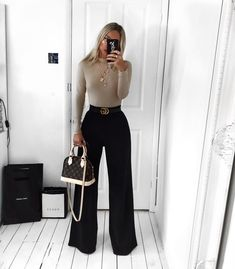 basics have never looked so good 💪🏼 head over heels for in the natasha bodysuit + anita wide leg trousers 😍 shop look via link in bio ☝🏼 Business Casual Outfits, Professional Outfits, Chic Outfits, Fashion Outfits, Womens Fashion, Fashion 2018, Work Outfits, Classy Going Out Outfits, Oversize Pullover