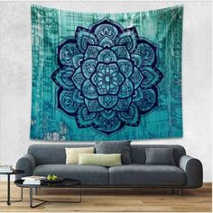 Blue Bohemian Tapestry Colored Printed Decorative Mandala Tapestry Indian 130cmx150cm 153cmx203cm Boho Wall Carpet