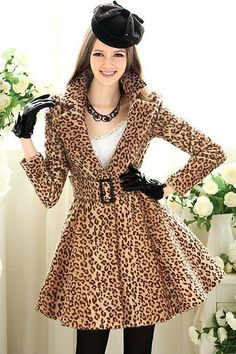 about Plaid Parka Dress Hooded Wool Blend Trench Long Coat Peacoat New Womens jacket New-Womens-Leopard-Belted-Long-Big-Skirt-Trench-Coat-Jacket-Dress-parka Leopard Print Coat, Leopard Skirt, Leopard Prints, Animal Prints, Coat Dress, Jacket Dress, Big Skirts, Vintage Style Dresses, Fashion Prints