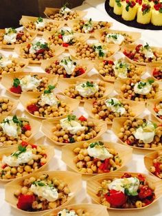 Chickpea salad with mint & pomegranate topped with yogurt. Spa party @muckrosspark