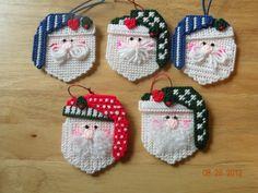 Plastic Canvas Santa Face Ornaments.