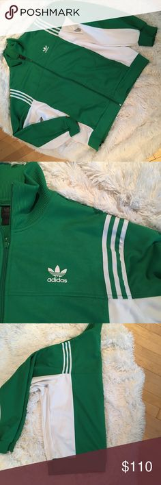 Vintage Adidas Originals Track Jacket Perfect Condition Vintage Adidas Originals Track Top in Green and White Full Zip Jacket Retro size XL UK edition from time at Bristol !! Authentic Footballer gear worn very few times adidas Jackets & Coats Lightweight & Shirt Jackets