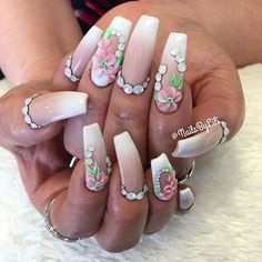 Pink white ombré with 3D flowers and stones nail art